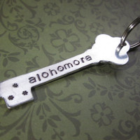 "Key Shaped ""Alohomora"" Hand Stamped Keychain"