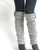 Gray knit military leg warmers by RunSystem63 on Etsy