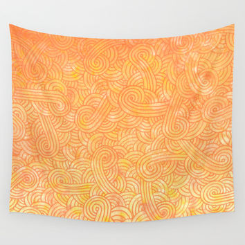 Yellow and orange doodles Wall Tapestry by Savousepate