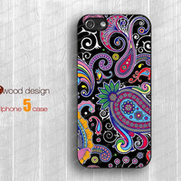NEW iphone 5 cases case for iphone 5  iphone 5 cover colorized illustrator flower black ground graphic design printing