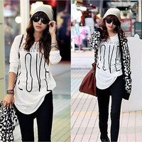 Womens Top SZ S Tshirt Jumper LOVE Long Sleeve Spring Fashion Tshirts Cool Cute