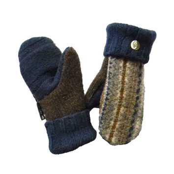 Blue Wool Sweater Mittens Fair Isle Handmade Recycled Sweater Fleece Lined Brown