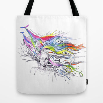 Dreams are made winding through her hair Tote Bag by EDrawings38