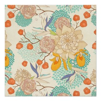 Girly Vintage Peony Flower Pattern Perfect Poster