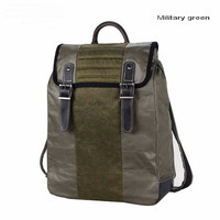 Retro coated canvas laptop day pack with leather trims