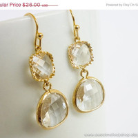 AUTUMN SALE - Clear Crystal Gold Drop Earrings, Simple Classic Earrings - wedding jewelry, bridal, bridesmaid gifts, christmas gift