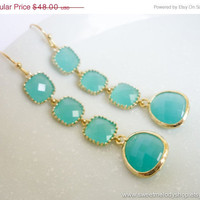 AUTUMN SALE - LUXE Mint Gold Drop Earrings - wedding jewelry, bridal, mom gifts, christmas gift, Three Tier Earrings