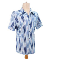 Vintage 70s Disco Shirt Pointy Collar Blue Chevron Stripe Medium Large