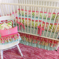 LAST ONE--- Kumari Garden-3 piece Crib Bedding--You choose the design--