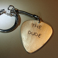 Personalized Bronze Guitar Pick Keychain