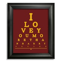 I Love You More Than Harry Potter Eye Chart, 8 x 10 Giclee Print BUY 2 GET 1 FREE