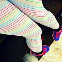 Rainbow notebook paper stripe Leggings pants lycra retro 80s