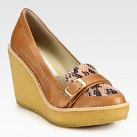 Stella McCartney Faux Leather And Faux Python Wedge Pumps