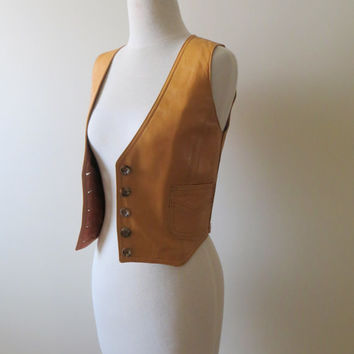 80's Cordovan Leather Vest Tan Southwestern Country Western Button Up Sleeveless Women Extra Small XS