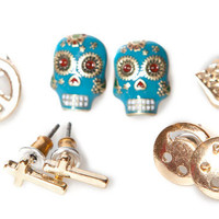 PACK OF 6 PAIRS OF SKULL AND CROSSBONE EARRINGS - JEWELLERY - WOMAN -  United Kingdom