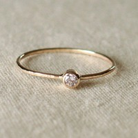 BACKORDERED  - Thread of Gold - Tiny Stacking Ring with 14k Gold Set Faceted Stone of Your Choice - Delicate Jewelry