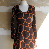 Vintage dress in giraffe pattern by fuzzybazooke on Etsy