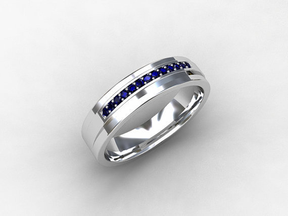blue sapphire ring wedding band mens from