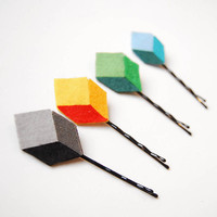 Pixel bobby pins - Color block clips, geometric - Set of 4: green, blue, yellow and gray.