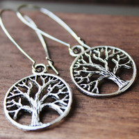 Tree of Life Earrings. Antique Silver.