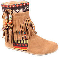 Refresh by Beston Women&#x27;s &#x27;Mini-03&#x27; Chestunt Fringe Boots | Overstock.com