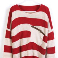 Red Stripes Loose Sweater with Pocket  S000118