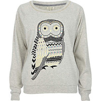 Grey owl print embellished top