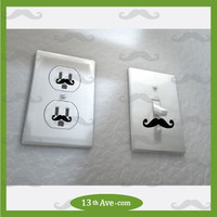 Mustache decals for wall outlet sockets, funny, also some for light switch covers.  any color stickers.