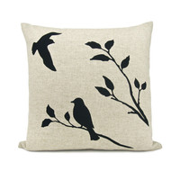 Love birds pillow case - Black flying bird and bird on a branch print on natural beige canvas - 16x16 decorative pillow cover
