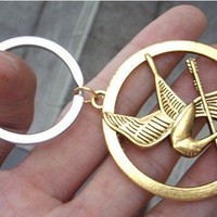 The Hunger Games pendant ,Inspired Mockingjay keychain antique golden