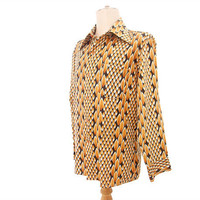 Vintage 70s Disco Shirt Pointy Collar Harvest Gold &amp; Black Leaf Print