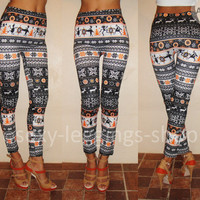 Black White Tribal Art Reindeer Sexy Womens Ladies Leggings Tights Pants A10