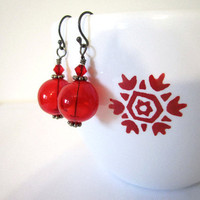 Hollow Glass Ball Earrings - Red by 636designs