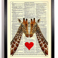 Eye To Eye Giraffe Heart Love Repurposed Book Upcycled Dictionary Art Vintage Book Print Recycled Vintage Dictionary Page Buy 2 Get 1 FREE