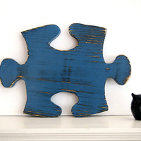 Puzzle Piece 2 (Pictured in Navy) Pine Wood Sign Wall Decor Rustic Americana French Country Chic