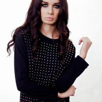 Black Studded Front Top