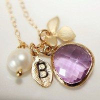 Customize Leaf Initial Orchid Necklace, Lilac Briolette, Pearl, Gift