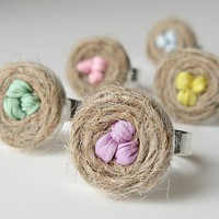 Birds Nest Rings Set of 5 Pastel Colors by bstudio on by bstudio