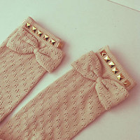 Cute knee high pointelle studded festival socks - Choose sock and stud colour
