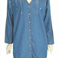 Vintage Bingo Blue Cotton 80s Mini Jean Dress