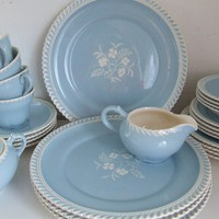 Vintage China Harmony House BLUE RHYTHM Dishes Six by stilettogirl