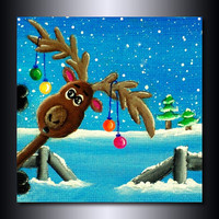 Christmas Print: &quot;Photo-Bombing Reindeer 8 x 8