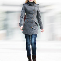Dark Grey Fitted Cashmere Coat Military Jacket Winter Wool Coat Women Coat - Custom Made - NC240