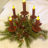 5 Arm Candelabra, Rust Colored, LED Taper Timer Candles
