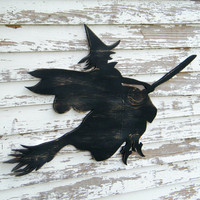 Witch Sign Flying Broom Halloween Decoration by SlippinSouthern