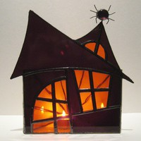 Halloween Stained Glass Candle Holder Spooky by FleetingStillness