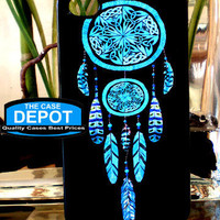 Turquoise 2 Tier Dreamcatcher Black Background Apple Iphone 4 Hard Case, Iphone 4s Case, Iphone Case