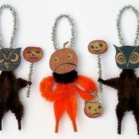 Primitive Halloween Chenille Ornaments by oldworldprimitives