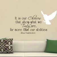 Harry Potter Vinyl Wall Decal It is our choices Dumbledore Large wall quote with owl.