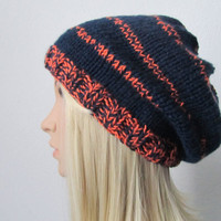 Hand Knitted Hat in Navy and Orange, Knit Slouch Beanie Hat